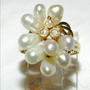 Jewelry - 14 k Pearl & Diamond Cocktail Ring